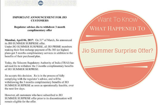Reliance Jio Summer Surprise Offer No More Available; Free Benefits Will Be Withdrawn After Taking Certain Considerations