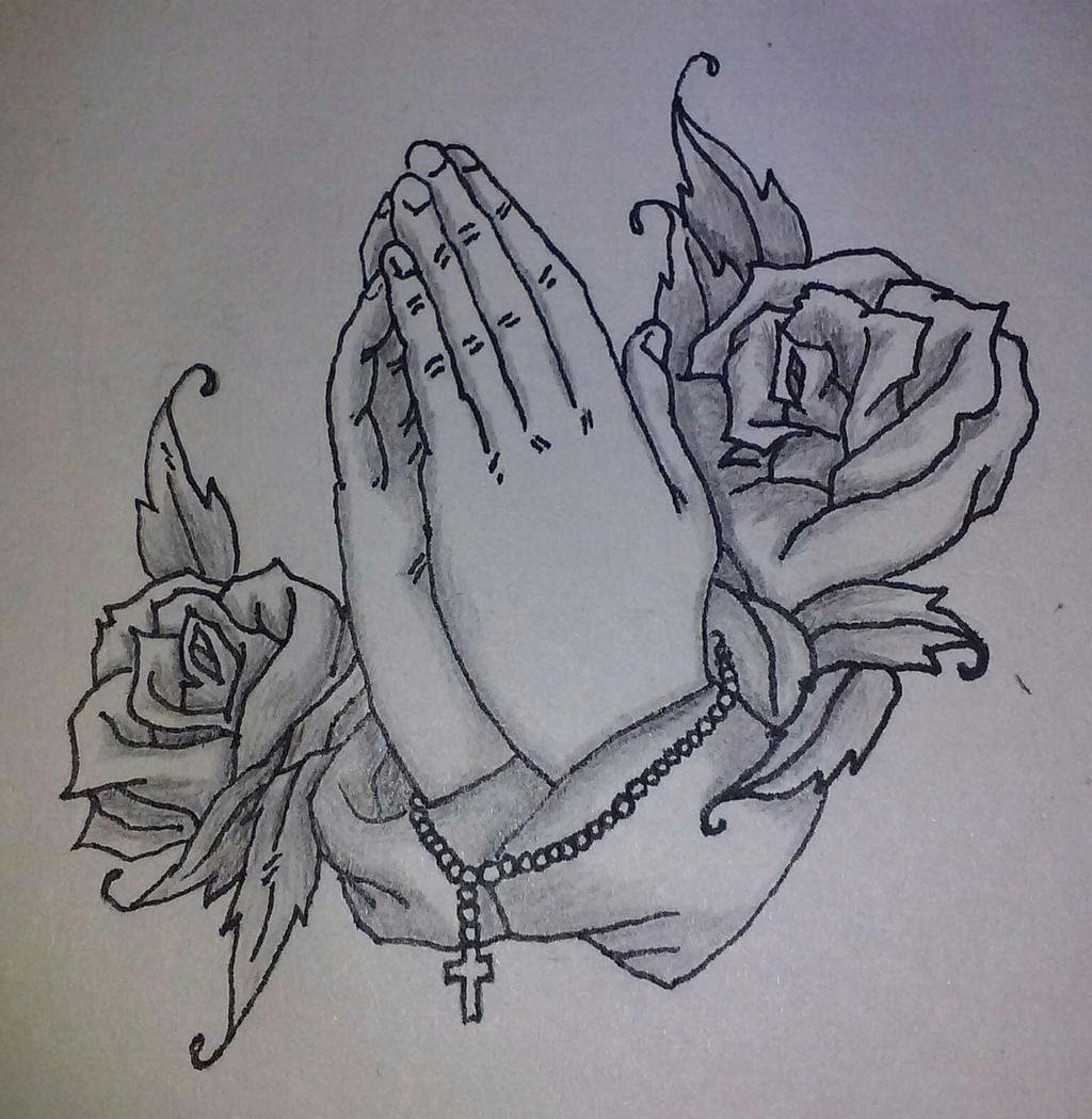 Pictures Of Praying Hands With Rosary And Roses Drawings Kidskunst