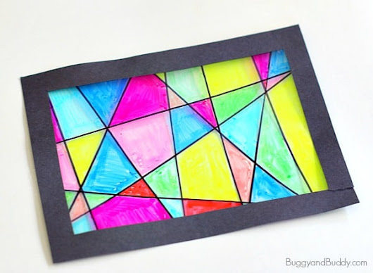 Faux Stained Glass Suncatcher Craft for Kids - Buggy and Buddy