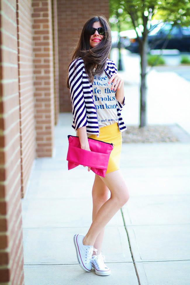 Stripes, Fashion Outfit, Bright Yellow Mini Skirt, Chuck Taylor Converse