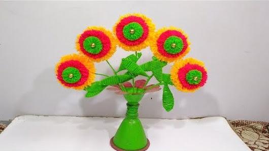 Easy Woolen Flower Vase Making Woolen Craft Best From Woolen Flowers