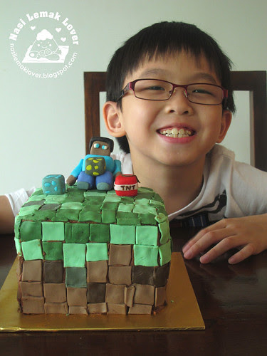 He is 8 years old now, a Minecraft fondant cake