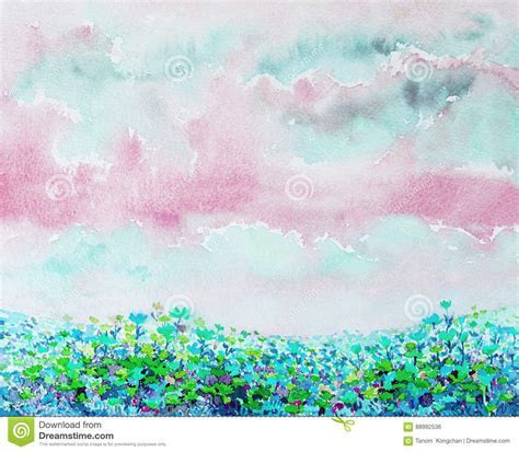 Painting Watercolor Flowers Of Daisy Flowers. Stock