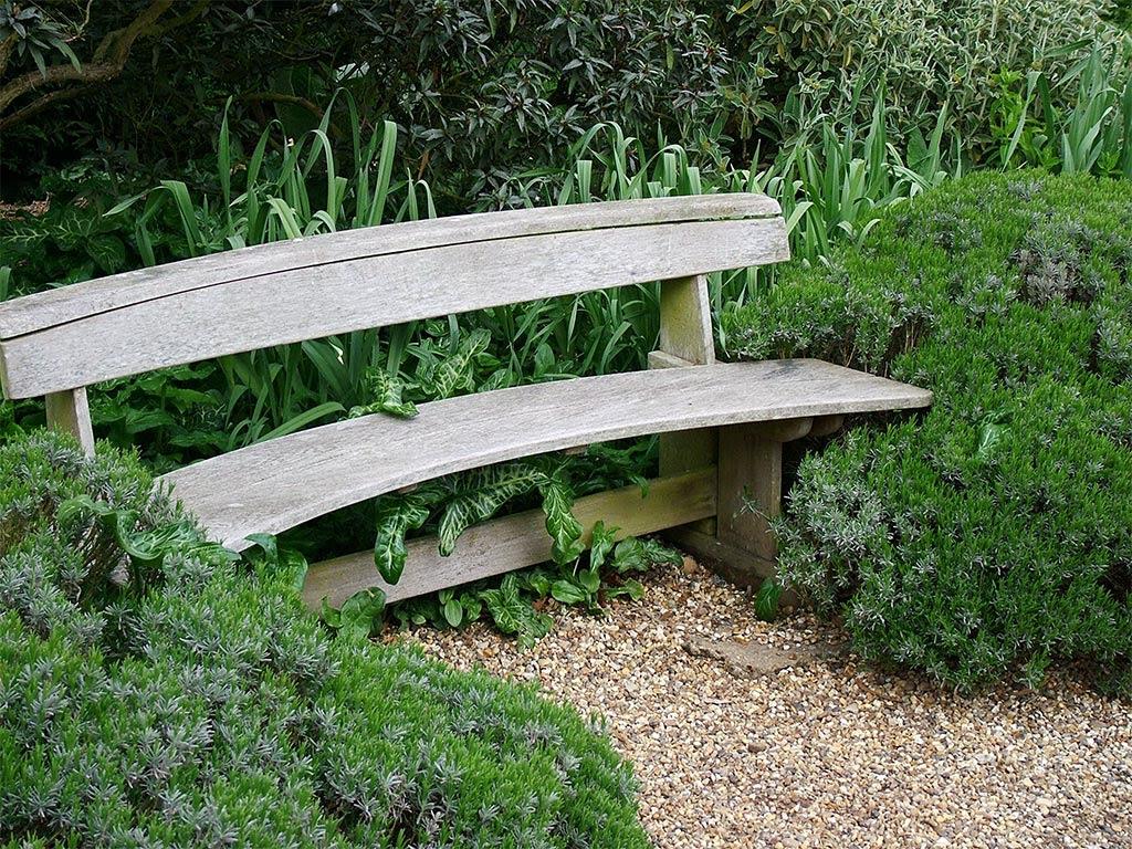 wooden beth chatto garden bench