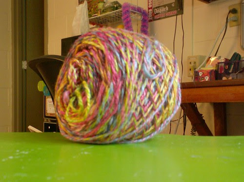 Handspun silk yarn variegated marled rainbow colors bright crazy neon happy