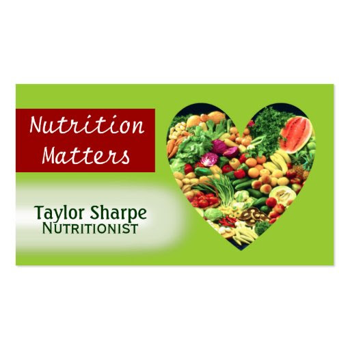 Nutrition Health Foods Business Card | Zazzle