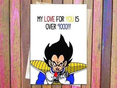 Over 9000 Dragon Ball Z Love Birthday or Anniversary Card