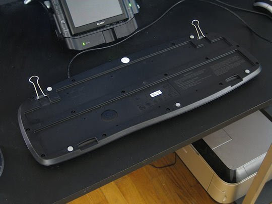 Broken keyboard feet? Replace them with binder clips.