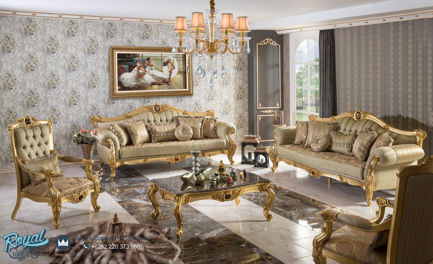 Set Kursi Tamu Sofa Mewah Ukiran Jepara Model Sofa Terbaru Royal