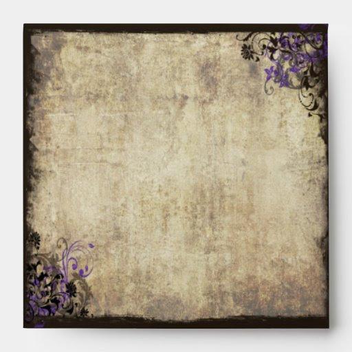 Download Purple Butterfly Vintage Wedding Envelope | Zazzle