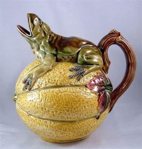 rare antique majolica figural pitcher frog   melon