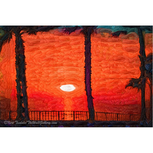 Tropical Wall Art Print: Bright Orange Tropical Sunset