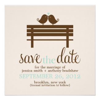 Love Birds Bench Wedding Save the Date {mint} Personalized Invites