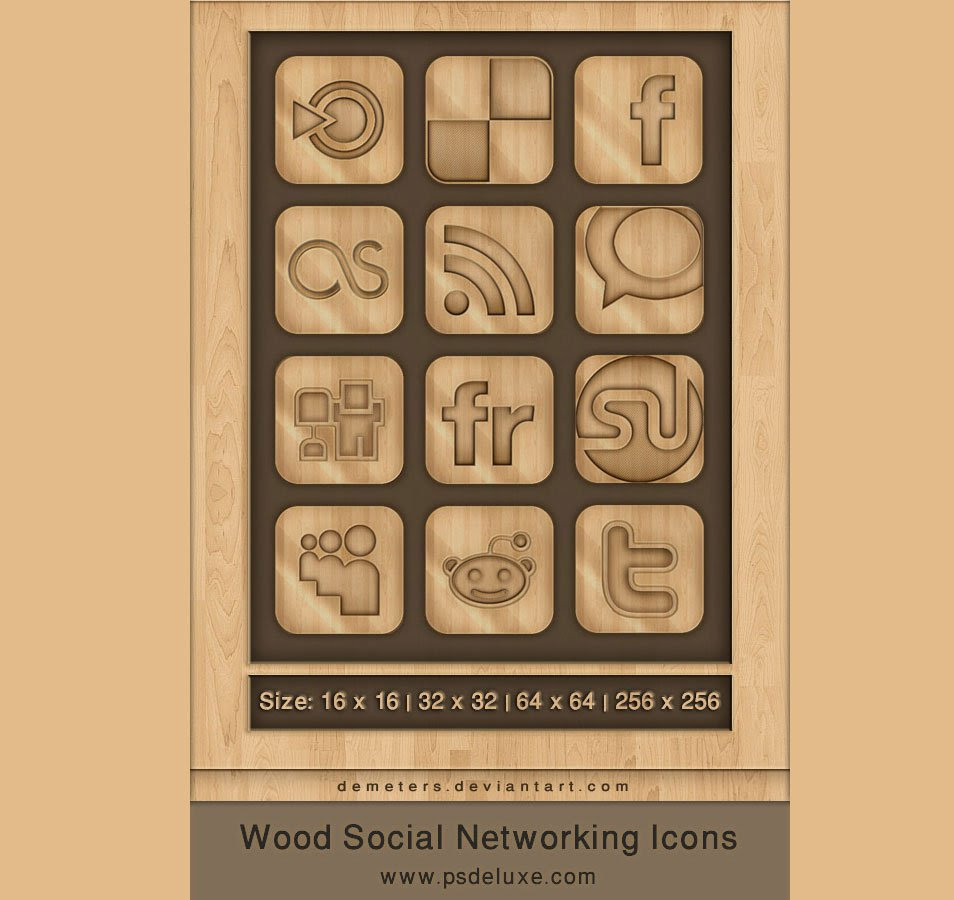 12 Creative Wooden Social Networking Icons