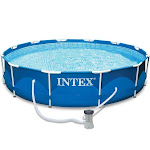 "Intex 12' x 30"" Metal Frame Above Ground Swimming Pool with Filter Pump"