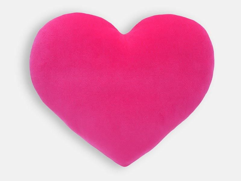 Hot Pink Velvet Heart Decorative Pillow Big Size