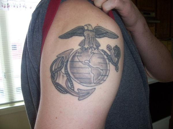 Eagle Globe And Anchor Right Shoulder Tattoo Tattoomagz
