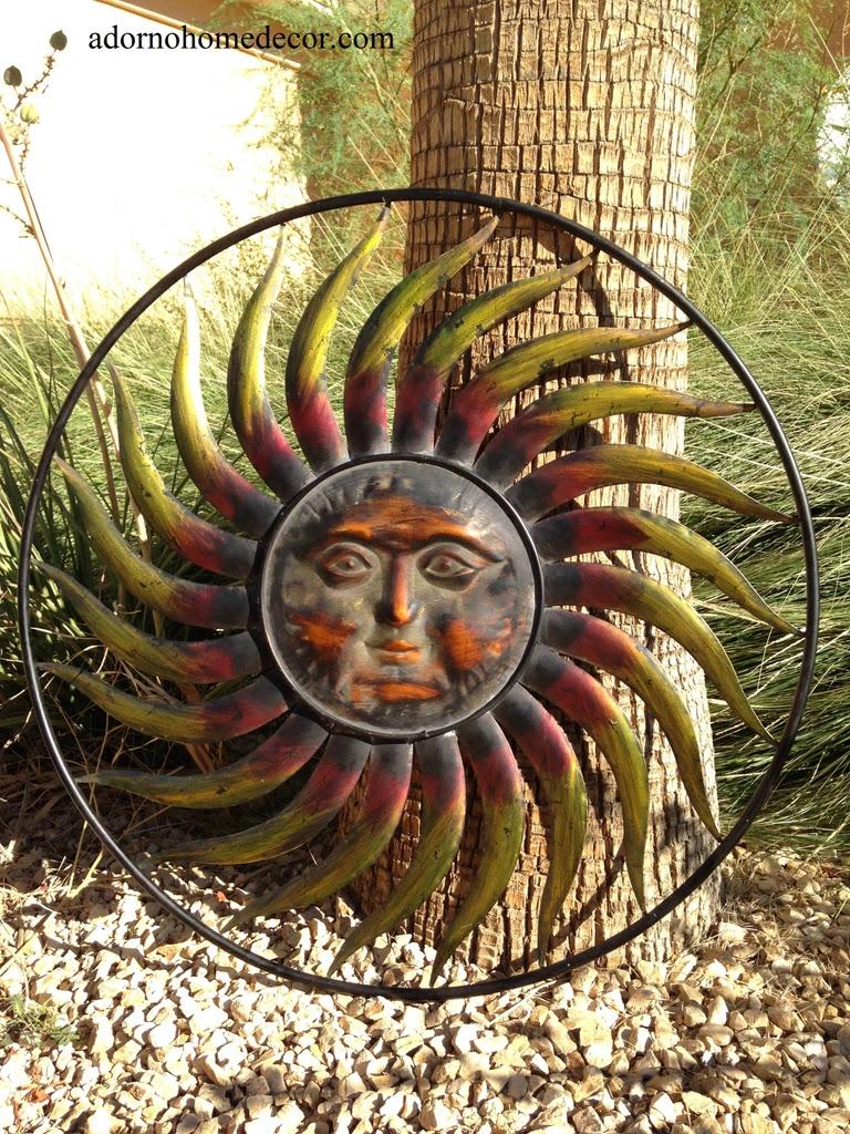 Large Round Metal Sun Wall Decor Garden Art Indoor Outdoor ...