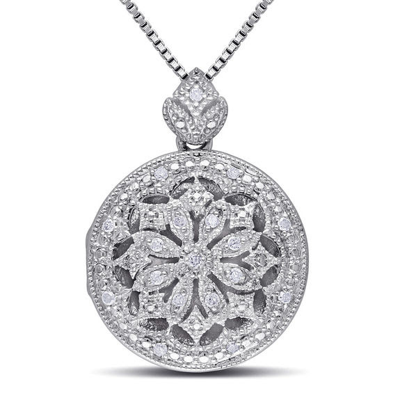 Diamond Accent Vintage Style Frame Flower Locket In Sterling Silver
