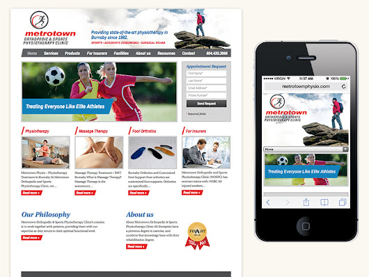 Stela Creative designs custom responsive website for Metrotown Physio - Stela Creative Services