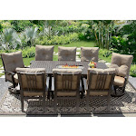 42x84 Rectangle Outdoor Patio 9pc Dining Set Seats 8 with Fire Table