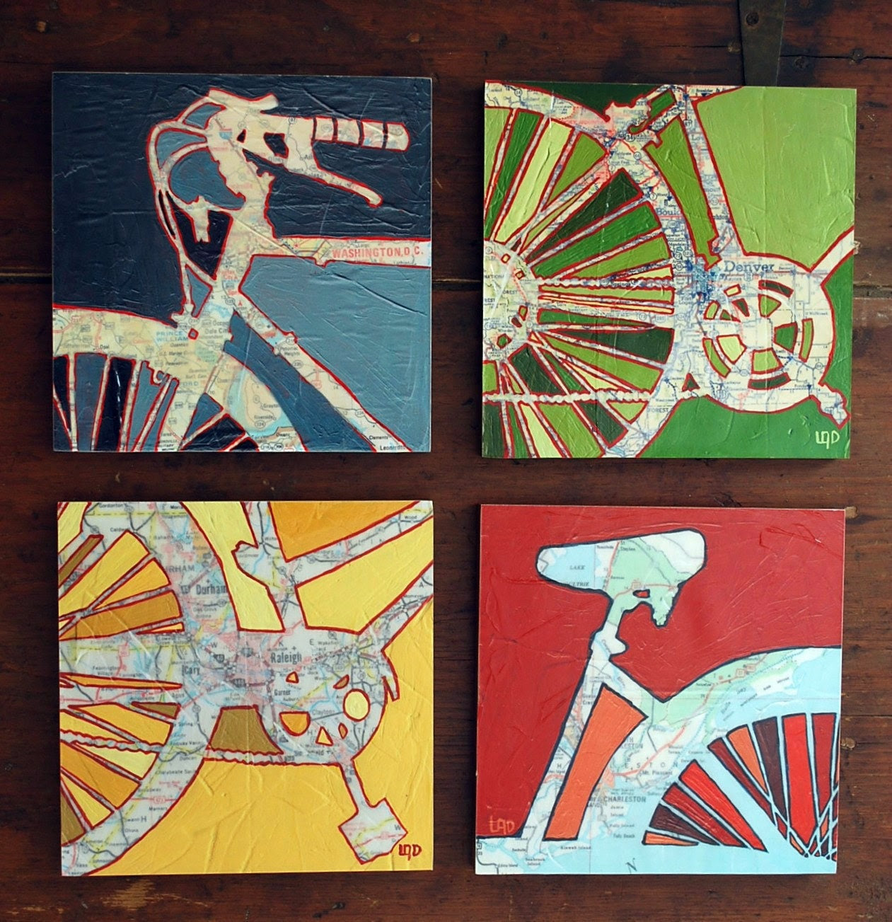 Bicycle art collection Four 8x8 Mounted bike map prints - OffTheMapArt