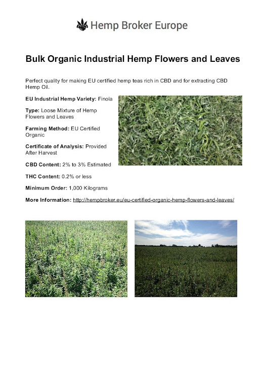 Bulk EU Certified Organic Farmed Industrial Hemp Flowers and Leaves