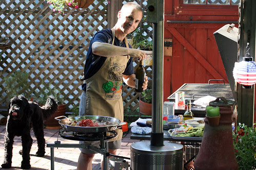 the paella chef and his sidekick