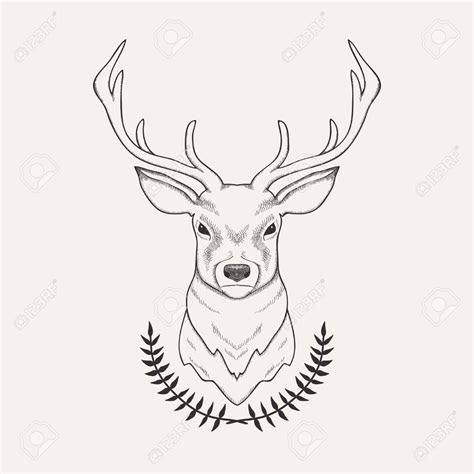 vector hand drawn illustration  deer  laurel royalty