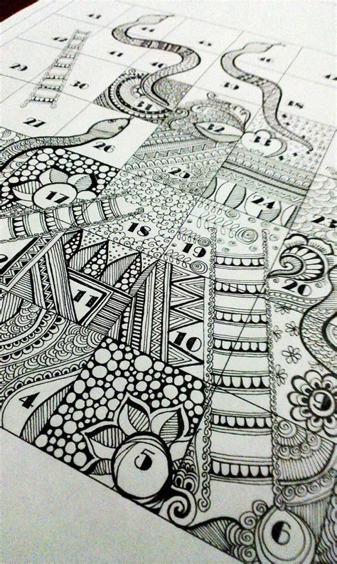 snakes  ladder  zentangle series doodle