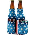 Blue Panda Patriotic Beer Bottle Cooler Sleeves with Cigarette, Lighter Holder (2 Pack)