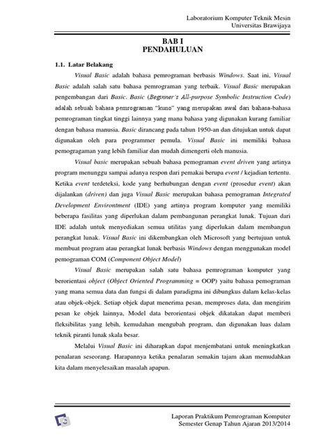 Laporan Labkomp (Visual Basic) Dasar Teori