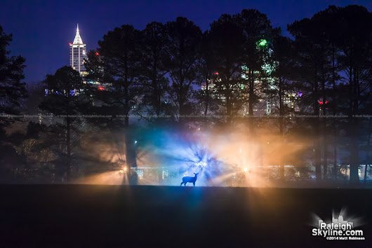 Scenes from a foggy night in Raleigh
