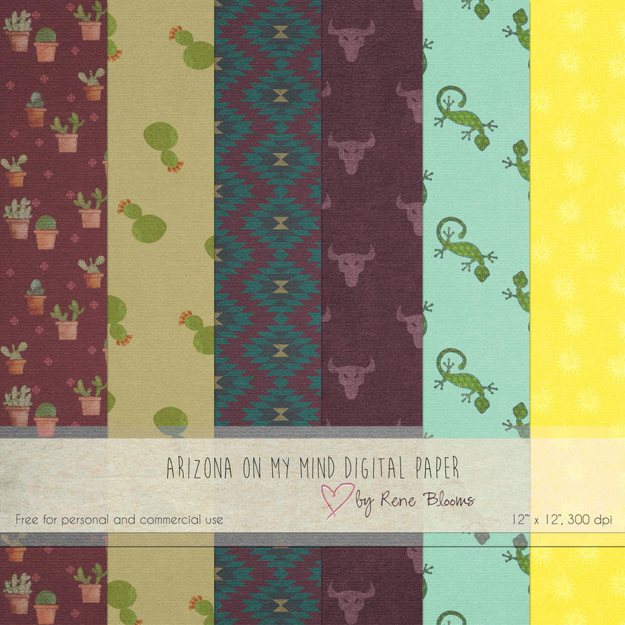 Arizona on My Mind Digital Paper by Rene Blooms by SunnyFunLane