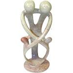 Natural 10-inch Tall Soapstone Family Sculpture - 2 Parents 2 Children - Smolart