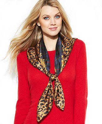 Lauren Ralph Lauren Wrap, Renee Silk Square plaid and leopard