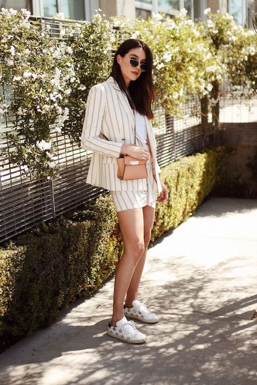Le Fashion Blog Sunglasses Striped Cream Blazer Striped Matching Mini Skirt Micro Crossbody Bag White Sneakers Spring Suit Via Thrifts And Threads