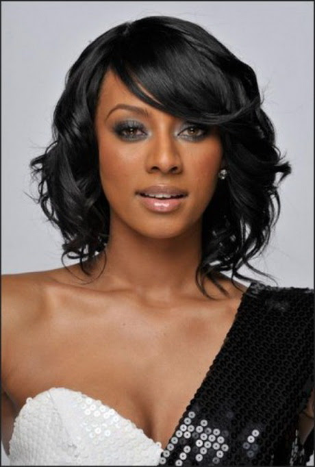 Short black hairstyles with bangs