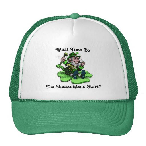 Leprechaun Sitting On A Shamrock Trucker Hat