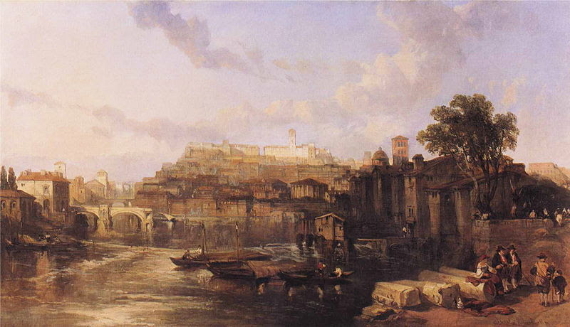 File:David Roberts - Rome, View on the Tiber Looking Towards Mounts Palatine and Aventine.JPG