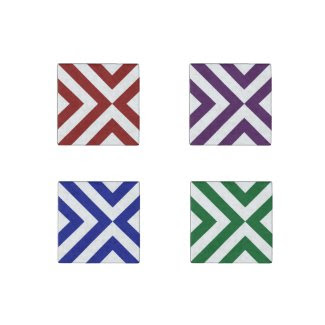Chevrons Magnet Set: Red, Purple, Blue, Green Stone Magnet