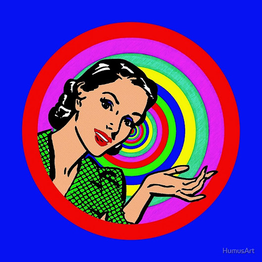 'Cool Retro Pop Art Girl In Color Circles'  by HumusArt