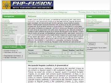 Free php-fusion White and Green Theme Template