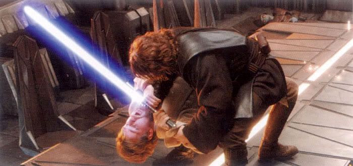 Anakin chokes Obi-Wan while standing atop a Mustafar conference room table.