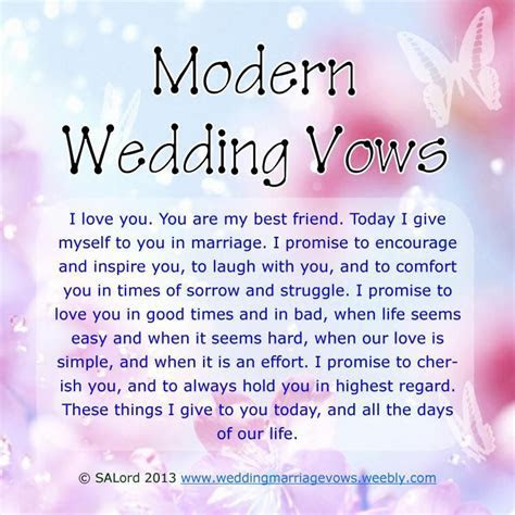 Modern Wedding Marriage Vows   Sample Vow Examples