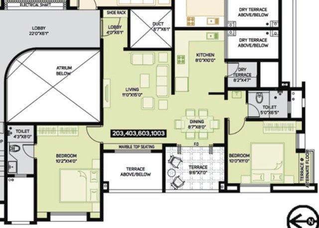 Pate Developers' Kimaya Bibwewadi Pune 2 BHK Flat (B203) 693 sq.ft. Carpet + 99 sq.ft. Terrace for Rs. 61.11 Lakhs
