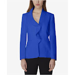 TAHARI Womens Blue Wear To Work Jacket Petites