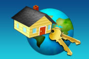 An illustration of a house and set of keys in front of the planet Earth.
