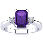 1 Carat Amethyst & 2 Diamond Ring Crafted in Solid 14K White Gold