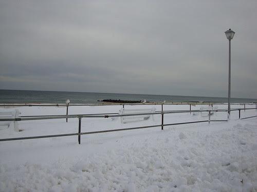 snow covered beach  in Sea Girt, NJ 2/13/2010